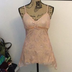 Dressy tank with lace overlay and center broach